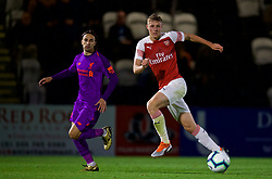 LONDON, ENGLAND - Friday, August 17, 2018: Arsenal's George Johnston during the Under-23 FA Premier League 2 Division 1 match between Arsenal FC and Liverpool FC at Meadow Park. (Pic by David Rawcliffe/Propaganda)