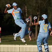Indian captain Jhulan Goswami celebrates after hitting the winning runs while batting with team mate Rumeli Dhar during the ICC Women's World Cup Cricket play off for third place between Australia and India at Bankstown Oval, Sydney, Australia on March 21, 2009. India beat Australia by three wickets. Photo Tim Clayton