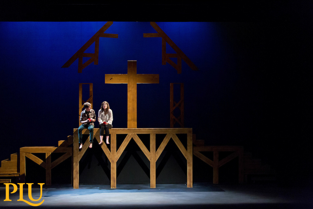 "Rehearsal of the production of ""Passion Play"" by Sarah Ruhl in the Eastvold Auditorium of the Phillips Center at PLU on Monday, Dec. 8, 2014. (Photo/John Froschauer)"