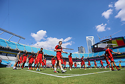 CHARLOTTE, USA - Saturday, July 21, 2018: Liverpool's Andy Robertson Robertson and his team-mates during a training session at the Bank of America Stadium ahead of a preseason International Champions Cup match between Borussia Dortmund and Liverpool FC. (Pic by David Rawcliffe/Propaganda)