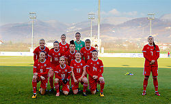 ZENICA, BOSNIA AND HERZEGOVINA - Tuesday, November 28, 2017: Wales players line-up for a team group photograph before the FIFA Women's World Cup 2019 Qualifying Round Group 1 match between Bosnia and Herzegovina and Wales at the FF BH Football Training Centre. Back row L-R: captain Sophie Ingle, Alice Griffiths, Rhiannon Roberts, Angharad James, goalkeeper Laura O'Sullivan, Gemma Evans, Natasha Harding. Front row L-R: Kayleigh Green, Jessica Fishlock, Rachel Rowe, Hayley Ladd. (Pic by David Rawcliffe/Propaganda)