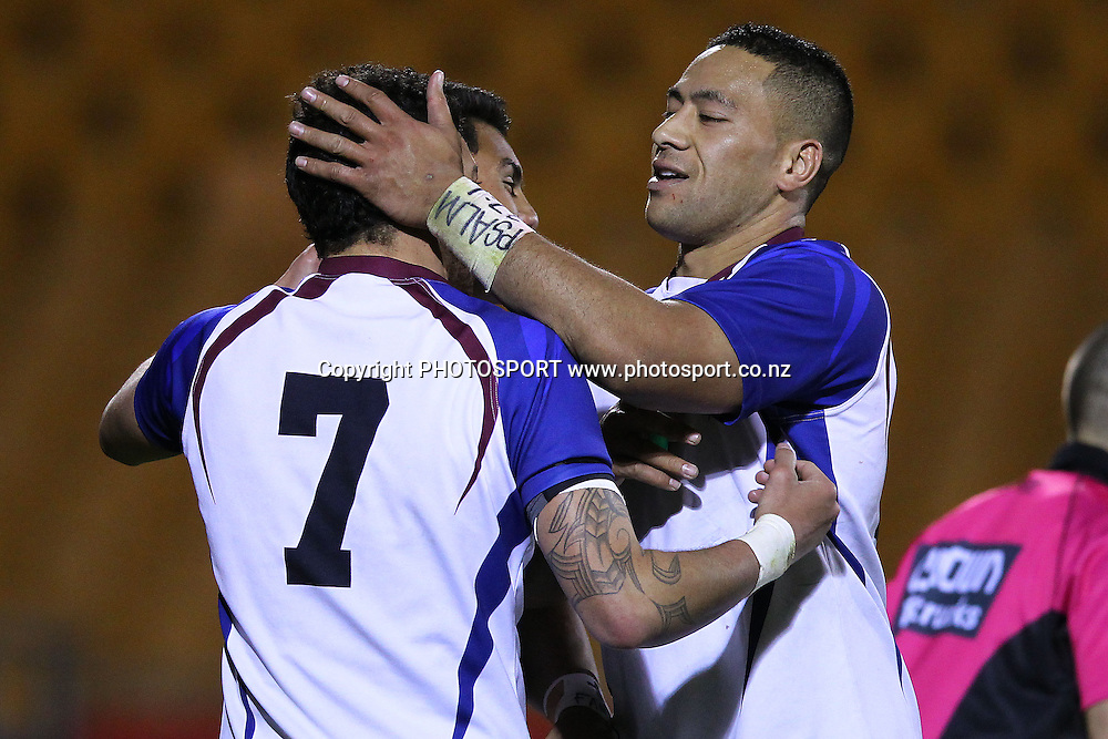 Akarana's Suaia Matagi congratulates Cody Walker for his try. Pirtek NZRL National Premiership Rugby League match, Final, Counties Manukau Stingrays v Akarana Falcons at Mt Smart Stadium, Auckland, New Zealand. Monday 15th October 2012. Photo: Anthony Au-Yeung / photosport.co.nz