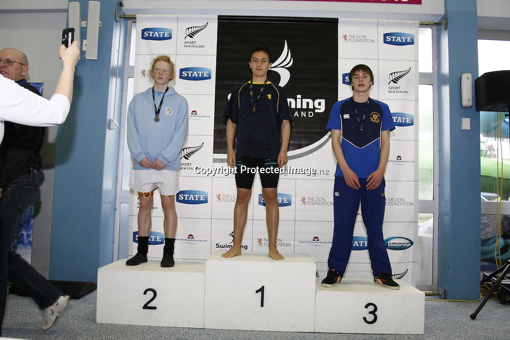 Medal presentation.  State Secondary Schools Swimming Champs.  Day 1, 7 September 2012.  Te Rapa, Hamilton.  Photo:  Bruce Lim / photosport.co.nz