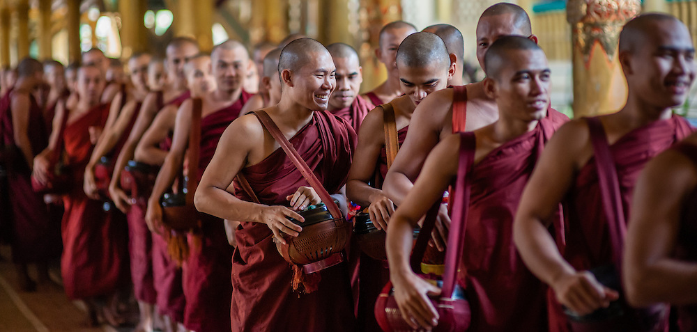 Buddhist Monks at Kha Khat Wain Kyaung Monastery (Bago, Myanmar)