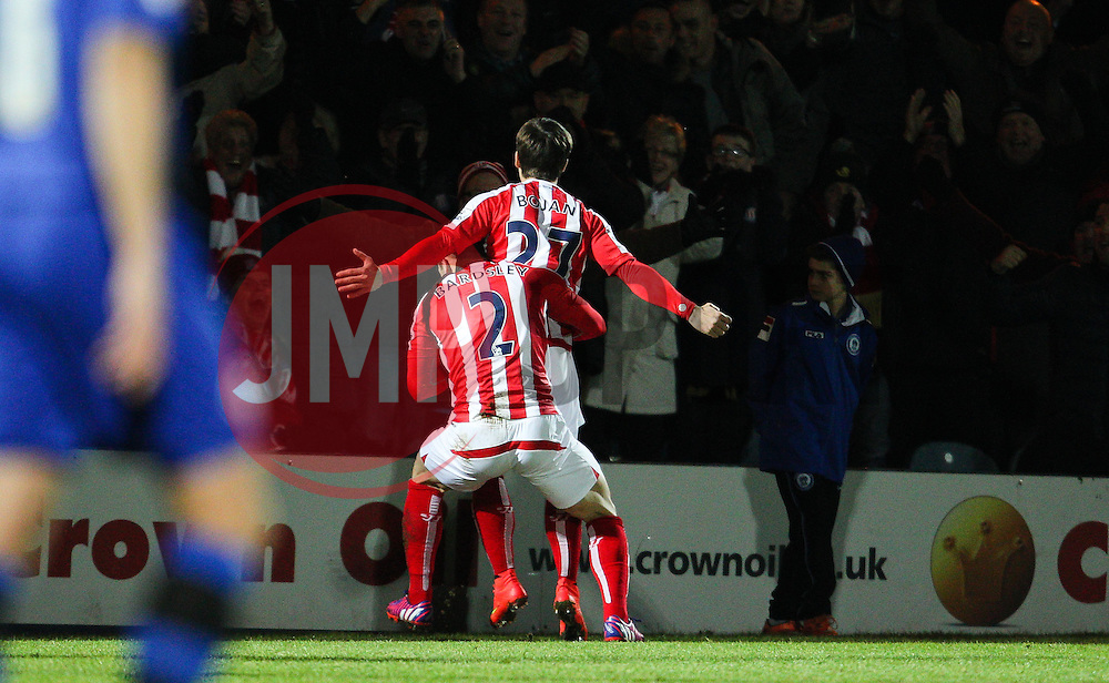Stoke City's Bojan Krkic celebrates after scoring the opening goal - Photo mandatory by-line: Matt McNulty/JMP - Mobile: 07966 386802 - 26/01/2015 - SPORT - Football - Rochdale - Spotland Stadium - Rochdale v Stoke City - FA Cup Fourth Round