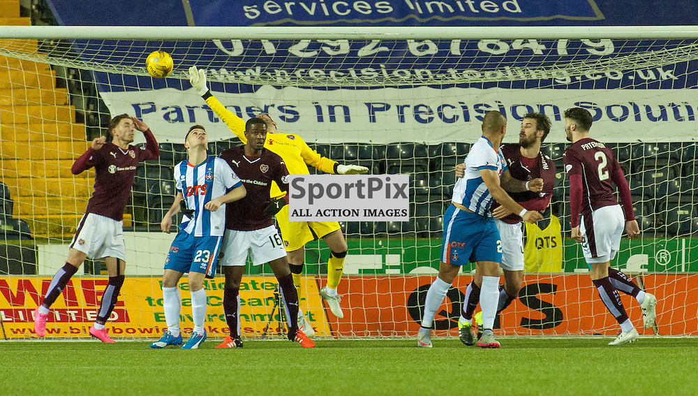 #28 Josh Magennis (Kilmarnock) heads in for 2-2 • Kilmarnock v Heart of Midlothian • Ladbrokes Premiership • 2 January 2016• © Russel Hutcheson   SportPix.org.uk