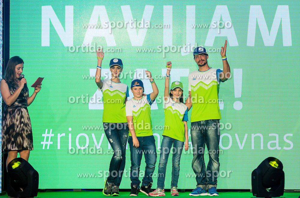 Fans collection during official presentation of the Designer wear for Slovenian Athletes at Rio Summer Olympic Games 2016, on April 15, 2016 in Hotel Lev, Ljubljana, Slovenia. Photo by Vid Ponikvar / Sportida