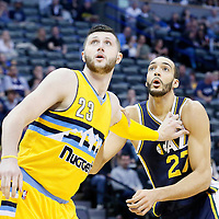 10 April 2016: Denver Nuggets center Jusuf Nurkic (23) vies for the rebound with Utah Jazz center Rudy Gobert (27) during the Utah Jazz 100-84 victory over the Denver Nuggets, at the Pepsi Center, Denver, Colorado, USA.