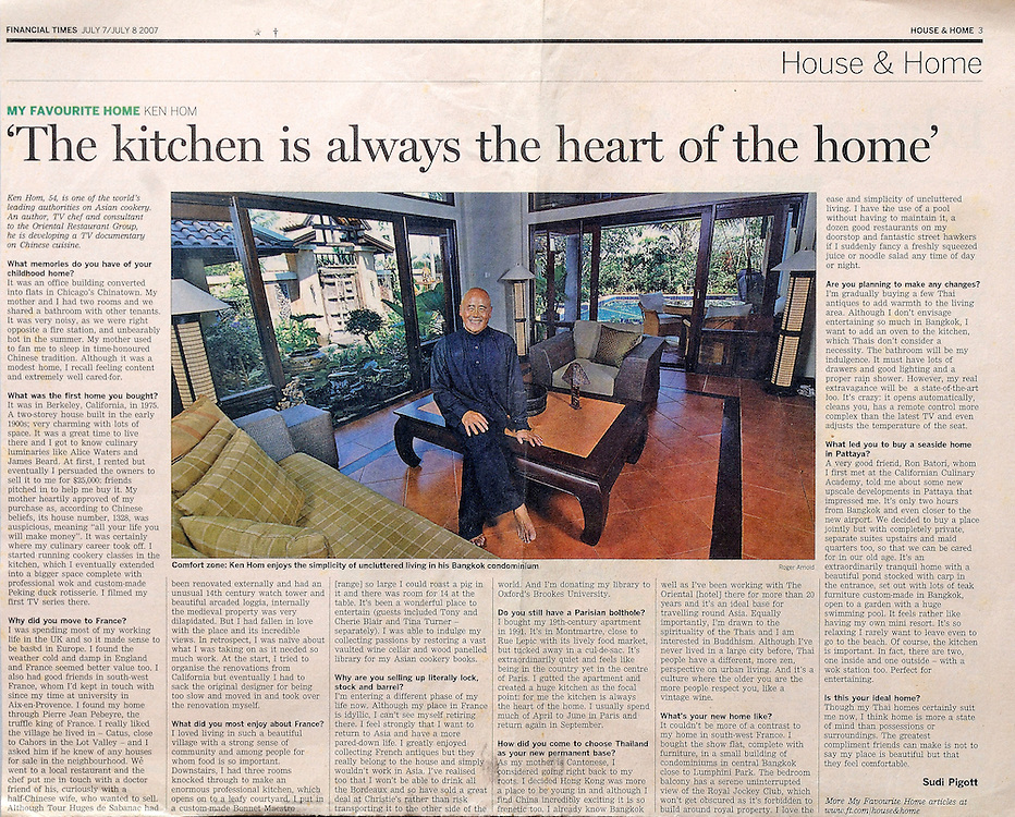 Financial Times - TV host Chef Ken Hom at his home in Thailand.