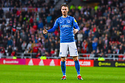 Tom Naylor of Portsmouth (7) reacts during the EFL Sky Bet League 1 first leg Play Off match between Sunderland and Portsmouth at the Stadium Of Light, Sunderland, England on 11 May 2019.
