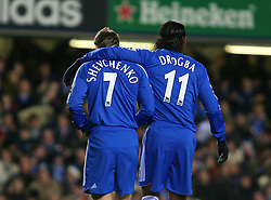 London, England - Tuesday, January 23, 2007: Chelsea's Andriy Shevchenko and Didier Drogba against Wycombe Wanderers  during the League Cup Semi-Final 2nd Leg match at Stamford Bridge. (Pic by Chris Ratcliffe/Propaganda)