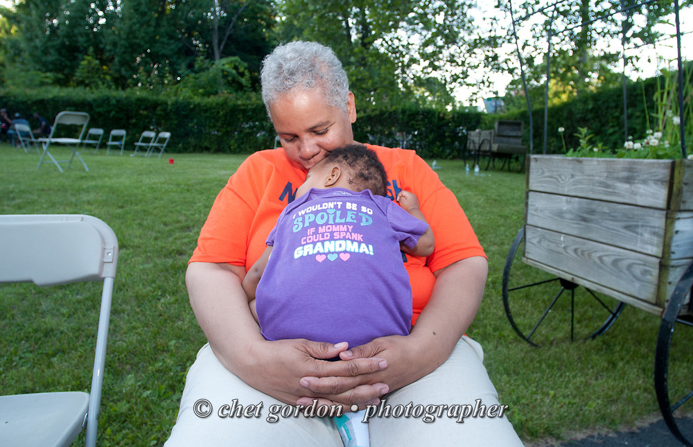 City of Newburgh Councilwoman Gay Lee during a family gathering at her Newburgh, NY home on Saturday, June 13, 2015. Lee has begun her campaign bid for Mayor of Orange County's largest city against incumbent mayor Judy Kennedy, and Jonathan Jacobson, the current Newburgh Democratic Committee Chairman.  © Chet Gordon • Photographer