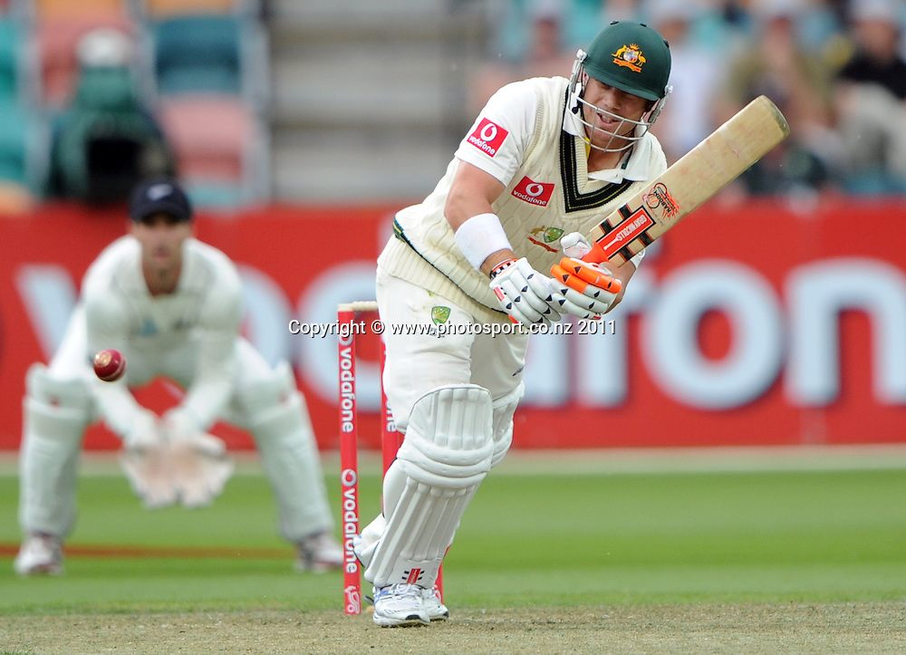 Australian opening batsman David Warner in action on Day 1 of the second cricket test between Australia and New Zealand Black Caps at Bellerive Oval in Hobart, Friday 9 December 2011. Photo: Andrew Cornaga/Photosport.co.nz