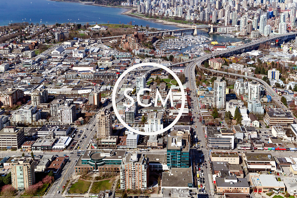 Aerial Photography of West Broadway Street, Vancouver, British Columbia. North and South.