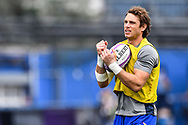 Cardiff Blues' Blaine Scully during the pre match warm up<br /> <br /> Photographer Craig Thomas/Replay Images<br /> <br /> European Rugby Challenge Cup Round Semi final - Cardiff Blues v Pau - Saturday 21st April 2018 - Cardiff Arms Park - Cardiff<br /> <br /> World Copyright &copy; Replay Images . All rights reserved. info@replayimages.co.uk - http://replayimages.co.uk
