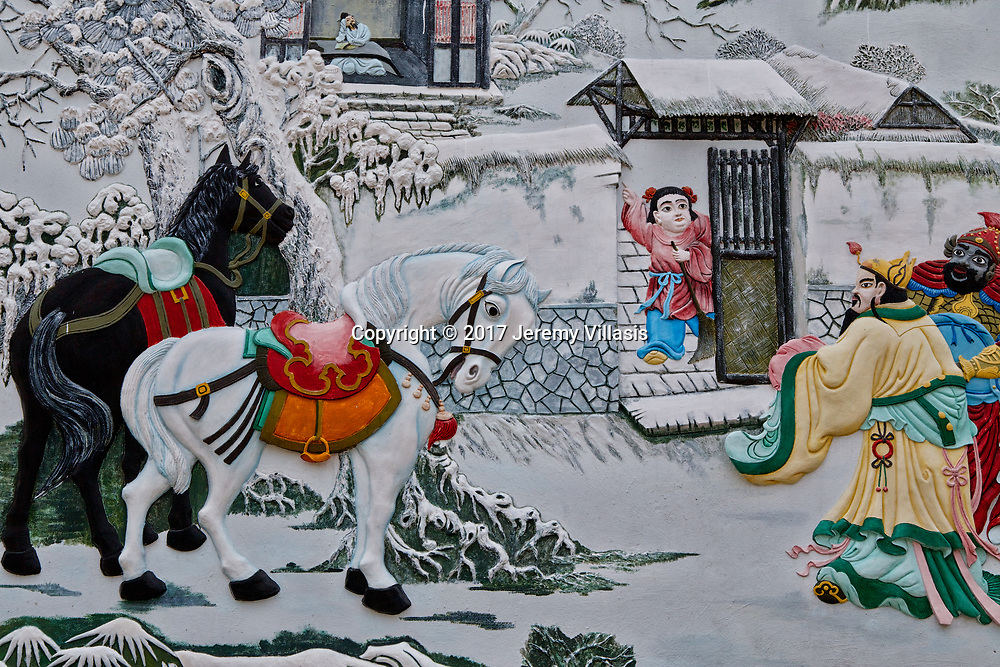 Section of the mural in the courtyard of the Cantonese Assembly Hall in Hoi An.