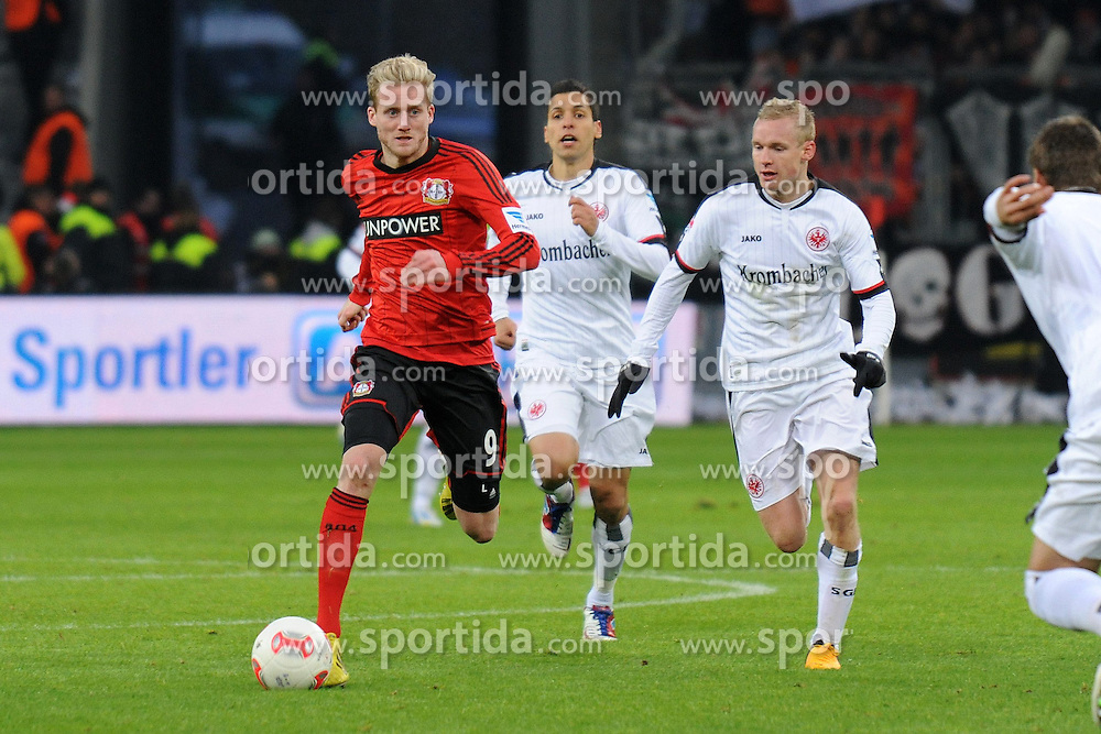 19.01.2013, BayArena, Leverkusen, GER, 1. FBL, Bayer 04 Leverkusen vs Eintracht Frankfurt, 18. Runde, im Bild Andre Schuerrle ( links Bayer 04 Leverkusen ) lauft Karim Matmour ( mitte ) und Sebastian Rode ( rechts Eintracht Frankfurt/ Action/ Aktion ) davon // during the German Bundesliga 18th round match between Bayer 04 Leverkusen and Eintracht Frankfurt at the BayArena, Leverkusen, Germany on 2013/01/19. EXPA Pictures © 2013, PhotoCredit: EXPA/ Eibner/ Thomas Thienel..***** ATTENTION - OUT OF GER *****