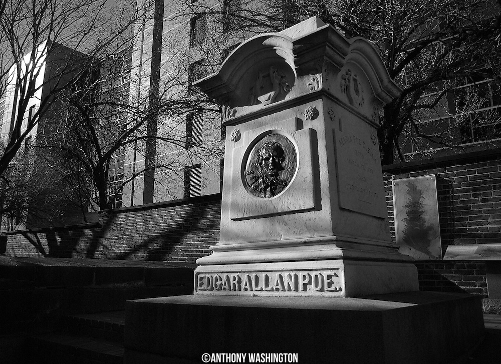 The Edgar Allan Poe Memorial Grave in Baltimore, MD on the morning of Monday, December 28, 2009.