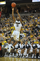 Jan 23, 2010; Columbia, MO, USA; Missouri Cornhuskers guard Zaire Taylor (11) shoots the ball in the second half of the game against the Nebraska Cornhuskers at Mizzou Arena in Columbia, MO. Missouri won 70-53. Mandatory Credit: Denny Medley-US PRESSWIRE
