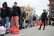 New Yorkers line up for gas at the Hess Station in Park Slope, Brooklyn, during the fuel shortage following Hurricane Sandy, Nov. 2, 2012.