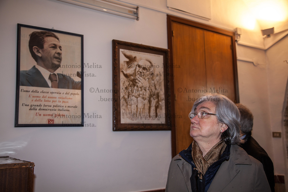 Rosy Bindi, President of the Anti-Mafia Commission, attends a ceremony on the anniversary of the massacre of Portella della Ginestra. For Labor Day, the CGIL has organized a march from Piana degli Albanesi.