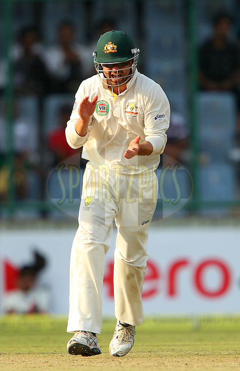 Ed Cowan of Australia celebrates the wicket of Ravindra Jadeja of India during day 2 of the 4th Test Match between India and Australia held at the Feroz Shah Kotla stadium in Delhi on the 23rd March 2013..Photo by Ron Gaunt/BCCI/SPORTZPICS ..Use of this image is subject to the terms and conditions as outlined by the BCCI. These terms can be found by following this link:..http://www.sportzpics.co.za/image/I0000SoRagM2cIEc