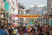 Arbat pedestrian zone...A river cruise from Moscow to St. Petersburg aboard MS Kazan, the most luxurious vessel (four star plus) operating in Russia. It is run by Austrian River Cruises under strictly Western standards, chartered - amongst others - by Club 50, a senior's travel agency based in Vienna.