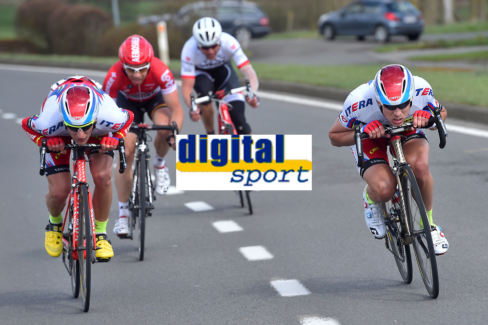 BYSTROM Sven Erik (NOR), KRISTOFF Alexander (NOR), DE BIE Sean (BEL),  DEVOLDER Stijn (BEL), during the 3 Days de Panne 2015, Stage 1, De Panne - Zottegem (201,6Km), in Belgium, on March 31, 2015. Photo Tim de Waele / DPPI