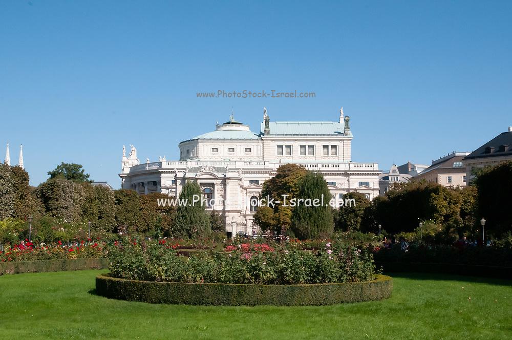 The Volksgarten (Peoples Garden) in September, with the Burgtheater building in the background, Innere Stadt district, Vienna, Austria