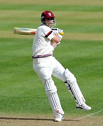 Somerset's Tom Cooper pulls the ball off the bowling of Durham's Paul Collingwood- Photo mandatory by-line: Harry Trump/JMP - Mobile: 07966 386802 - 12/04/15 - SPORT - CRICKET - LVCC County Championship - Day 1 - Somerset v Durham - The County Ground, Taunton, England.