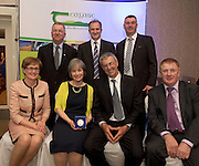 Prof Gerry Boyle, Director Teagasc , David Small, DARDNI, and Colm Concannon, JFC and seated  MEP Mairead McGuinness, Marjorie and Elizabeth and David Ross Top of the Rock Pod Park and Walking centre and John Concannon JFC at the JFC Innovation awards sponsored by Teagasc, DARD Northern Ireland and the Irish Farmers Journal at the Claregalway Hotel. Photo:Andrew Downes