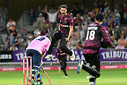 Wicket - Tim Groenewald of Somerset celebrates taking the wicket of Paul Stirling of Middlesex during the Vitality T20 Blast South Group match between Somerset County Cricket Club and Middlesex County Cricket Club at the Cooper Associates County Ground, Taunton, United Kingdom on 30 August 2019.