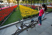 Tourists pose for photos in Olympic Park's flower garden area.  2011 Tour of Beijing