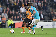 Hull City midfielder Moses Odubajo (2) and Derby County's Jeff Hendrick (8) during the Sky Bet Championship play off 2nd leg match between Hull City and Derby County at the KC Stadium, Kingston upon Hull, England on 17 May 2016. Photo by Ian Lyall.