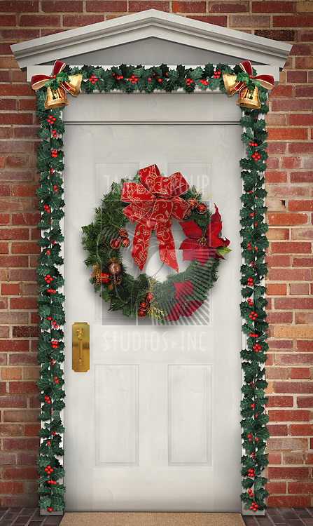 Christmas wreath hanging on a traditional wooden door decorated with a holly garland