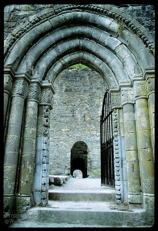 Carved 12th-century entry of Cong Abbey is mix of Romanesque and Gothic styles; Cong. Ireland