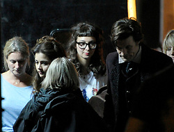© Licensed to London News Pictures. 20/08/2012. Bristol, UK. Actors Matt Smith (right) and Jenna-Louise Coleman (2nd from left) on set as the BBC's Dr Who film around Corn Street in Bristol's old city centre.  Fake snow was used for a winter scene with Matt Smith as Doctor Who dressed in a top hat, doing a scene with a horse drawn carriage and the new doctor's companion Jenna-Louise Coleman.  20 August 2012..Photo credit : Simon Chapman/LNP