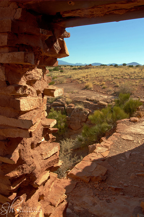 View from a doorway in the Lomaki Pueblo ruins - Wupatki National Monument, AZ