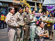 29 OCTOBER 2018 - PHRA PRADAENG, SAMUT PRAKAN, THAILAND: The ceremony with municipal officials before the long boat races. The longboat races go about one kilometer down the Chao Phraya River to the main pier in Phra Pradaeng. The boats are crewed by about 20 oarsmen. Longboat racing traditionally marks the end of the Buddhist Rains Retreat (called Buddhist Lent) in Thai riverside communities.        PHOTO BY JACK KURTZ