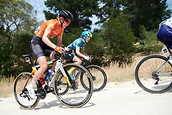 Leigh Ann Ganzar (USA) crosses the gravel sector on Stage 3 of 2020 Santos Women's Tour Down Under, a 109.1 km road race from Nairne to Stirling, Australia on January 18, 2020. Photo by Sean Robinson/velofocus.com