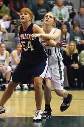 10 January 2009: Kelly Brooks gets position and blocks out Amy Burton. The Lady Titans of Illinois Wesleyan University downed the and Lady Thunder of Wheaton College by a score of 101 - 57 in the Shirk Center on the Illinois Wesleyan Campus in Bloomington Illinois.