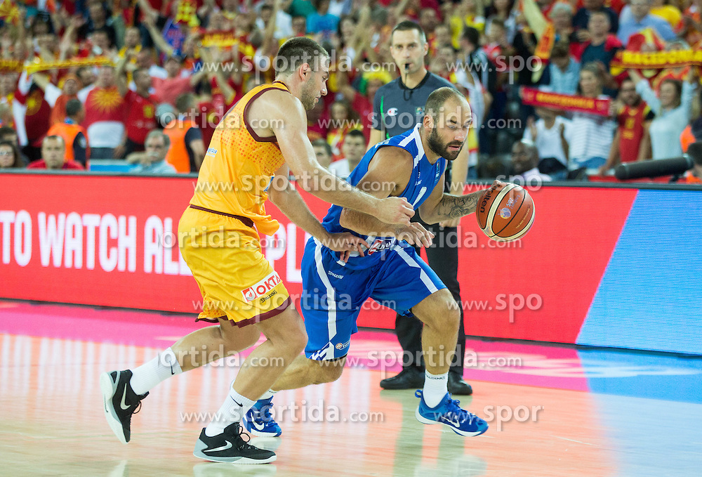 Marko Simonovski of Macedonia vs Vassilis Spanoulis of Greece during basketball match between FYR of Macedonia and Greece at Day 1 in Group C of FIBA Europe Eurobasket 2015, on September 5, 2015, in Arena Zagreb, Croatia. Photo by Vid Ponikvar / Sportida