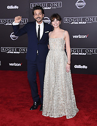 Celebrities arrive at the 'Rogue One: A Star Wars Story' movie premiere in Hollywood, California. 10 Dec 2016 Pictured: Diego Luna and Felicity Jones. Photo credit: American Foto Features / MEGA TheMegaAgency.com +1 888 505 6342