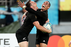 Ben Smith - New Zealand winger celebrates with Aaron Smith after sliding over the line for a first half try.<br /> New Zealand v Wales, Rugby World Cup, Bronze Final, Tokyo Stadium, Tokyo, Japan, Saturday 1st November 2019. ***Please credit: Fotosport/David Gibson***
