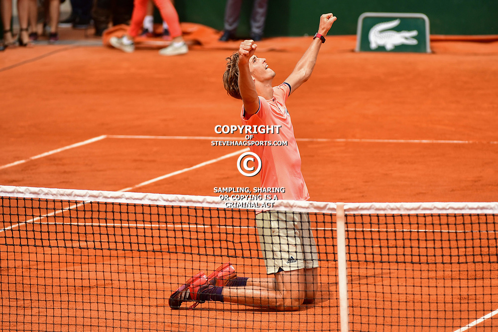 Alexander Zverev of Germany celebrates winning during Day 8 of the French Open 2018 on June 3, 2018 in Paris, France. (Photo by Dave Winter/Icon Sport)