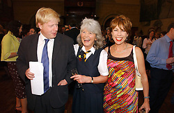 Left to right, BORIS JOHNSON MP, JILLY COOPER and KATHY LETTE  at a party to celebrate the publication of Wicked - A Tale of Two Schools by Jilly Cooper held at Westminster School, Dean's Yard, London on 11th May 2006.<br /><br />NON EXCLUSIVE - WORLD RIGHTS