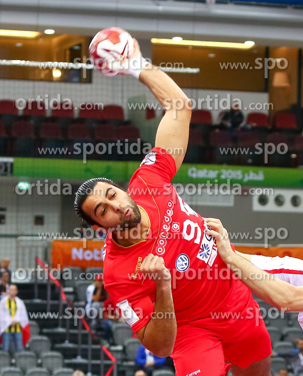 19.01.2015, Ali Bin Hamad Al Attiyah Arena, Doha, QAT, IHF, Handball Weltmeisterschaft der Herren, Gruppe B, Österreich vs Tunesien, im Bild Amine Bannour (TUN) // during the IHF Handball World Championship group B match between Austria and Tunisia at the Ali Bin Hamad Al Attiyah Arena, Doha, Qatar on 2015/01/19. EXPA Pictures © 2015, PhotoCredit: EXPA/ Sebastian Pucher