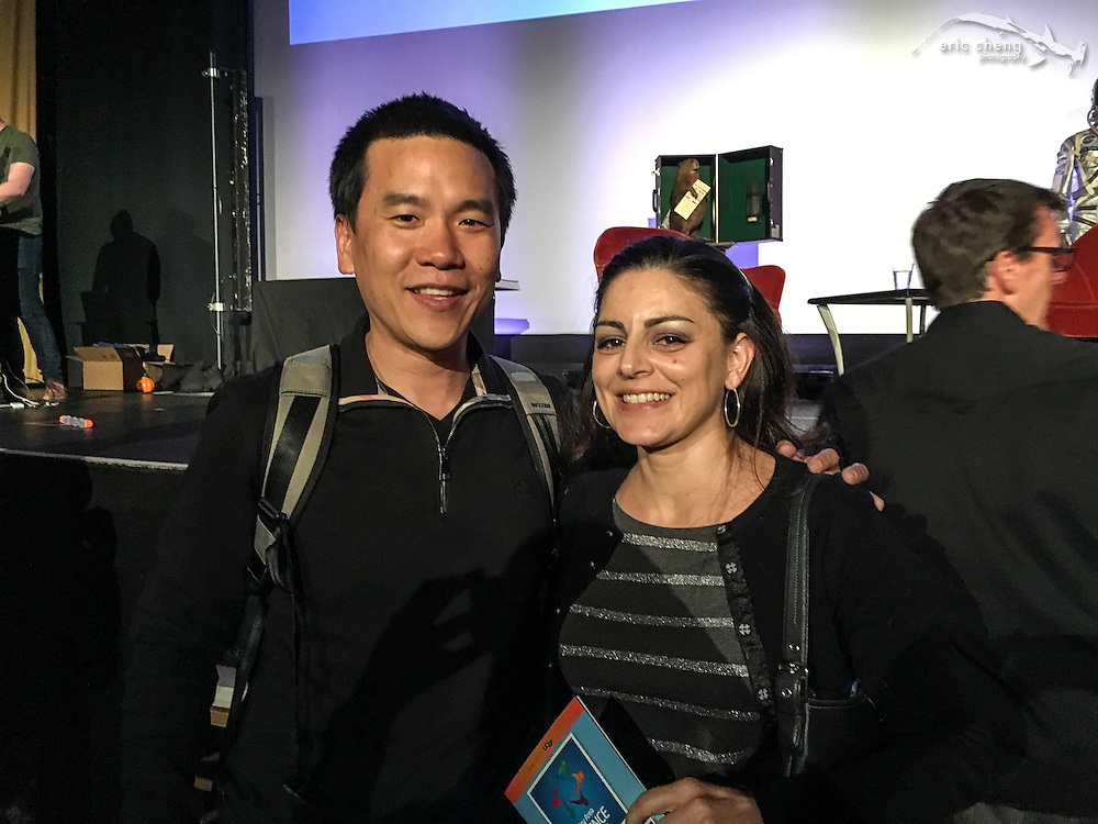 Eric Cheng and Rebecca Cohen. Tested.com live show, Oct 23, 2015, Castro Theater, San Francisco.