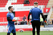 Rochdale players warming up during the EFL Sky Bet League 1 match between Rotherham United and Rochdale at the AESSEAL New York Stadium, Rotherham, England on 7 December 2019. during the EFL Sky Bet League 1 match between Rotherham United and Rochdale at the AESSEAL New York Stadium, Rotherham, England on 7 December 2019.