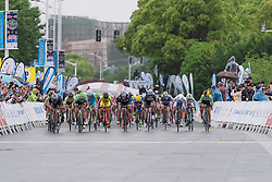 The final sprint, spread across the road - Tour of Chongming Island 2016 - Stage 2. A 113km road race on Chongming Island, China on May 7th 2016.